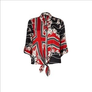 River Island || Shirt w/ tie front in red scarf